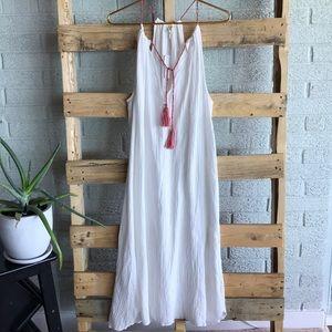 C&C California White Gauze Midi Tassel Dress